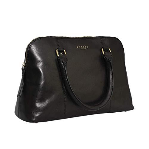 Handtasche für Damen, echtes glattes Leder, Schultertasche, Arbeitstasche, groß, 38,1 cm, Schwarz (Sydney Schwarz), Large