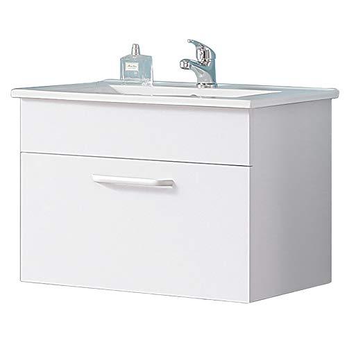Aica Sanitär Waschtisch mit Unterschrank 60 cm Arhus 01 Hängeschrank Badmöbel Set 1× Schublade Gäste WC Weiß