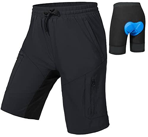 Cycorld-MTB-Hose-Herren-Kurz-Gepolstert 4D, Mountainbike-Hose-Herren mit Sitzpolster Atmungsaktive MTB-Shorts-Herren-Bike-Shorts Mountainbike-Shorts (Schwarz, XL, x_l)