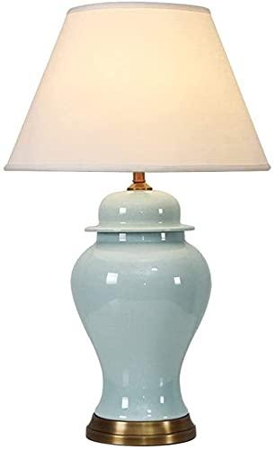 Lámparas de escritorio para la oficina de cerámica de la oficina de cerámica para el hogar/clásico minimalista tela de lino sombreado de aceite frotamiento de latón Base de la sala de estar Lámpara