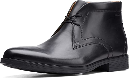 Clarks Men's Whiddon Mid Oxford Boot, Black Leather, 10