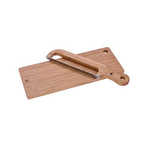 LAGUIOLE - Brotsäge und Schneidebrett - Bambussäge, Edelstahl - Natur Bambusbrett - Kratzfest - Praktische Geschenkbox - -