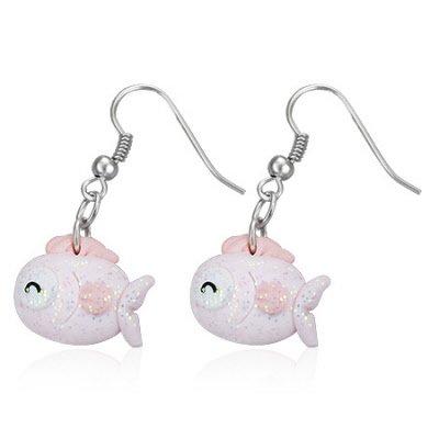 Boucles d'oreilles style manga poisson rose