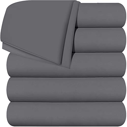Utopia Bedding Flat Sheets - Pack of 6 - Soft Brushed Microfiber Fabric - Shrinkage & Fade Resistant Top Sheet - Easy Care (Twin, Grey)