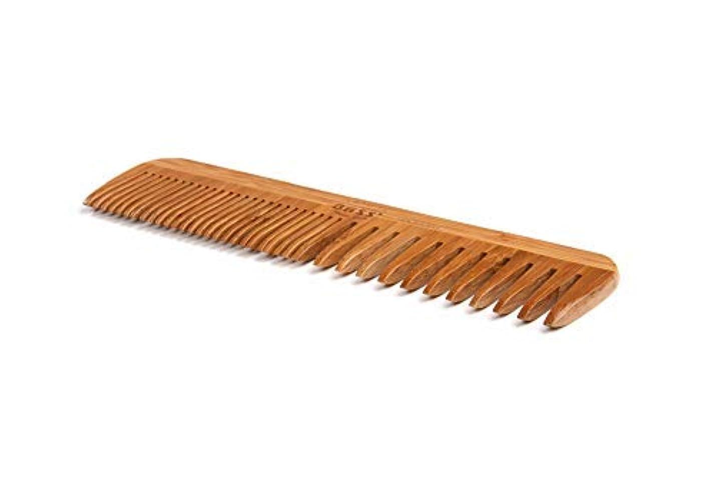 覆す地中海マーカーBass Brushes | Grooming Comb | Premium Bamboo Teeth and Handle | Wide Tooth/Fine Tooth Combination | Dark Finish | Model W3 - DB [並行輸入品]