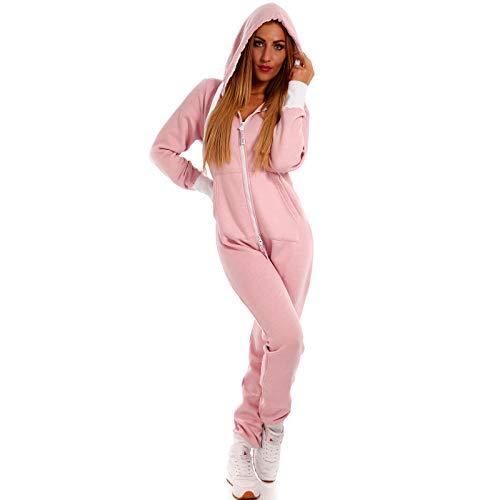 Crazy Age Basic Jumpsuits Ganzkörperanzug Einteiler One Piece Schlafanzug Overall Damen Jumpsuit Kuschelig und warm (XS, Rosa)