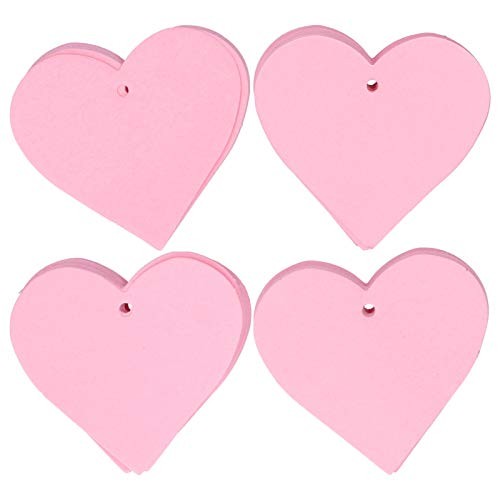 4 Bag Gift Tag Pink Heart Shaped Paper Hang Tags Price Tags Favor Label for Wedding Christmas Party Craft Supplies