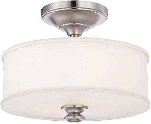 Minka Lavery Semi Flush Mount Ceiling Light 4172-84, Harbour Point Round Glass Lighting Fixture, 2 Light, Nickel