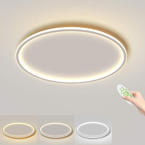 Plafones LED de 45W, diámetro de 60cm, grosor de solo 4,5cm, lámpara de techo redonda blanca, 4500lm, regulable con mando a distancia, moderna iluminación de techo para pasillo, dormitorio o salón