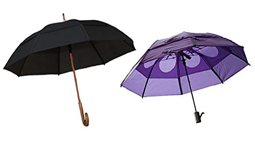 Gustbuster Classic & Metro Wind Resistant Umbrellas, 2 Pc Bundle Blk & Purple