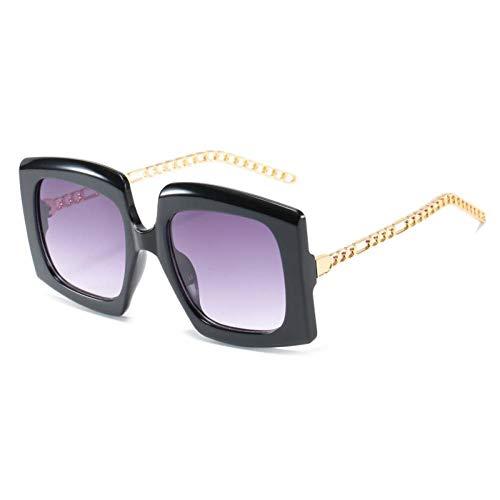 ZZOW Gafas De Sol Cuadradas De Gran Tamaño con Degradado De Moda para Mujer, Diseñador De Marca, Gafas con Cadena De Metal Vintage, Gafas De Sol para Hombre, Sombras Uv400