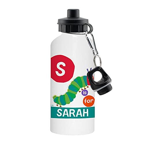 Caterpillar personalizable con texto en inglés 'Very Hungry Caterpillar', inicial, aluminio, 500 ml, reutilizable para niños, botella de agua (inicial)
