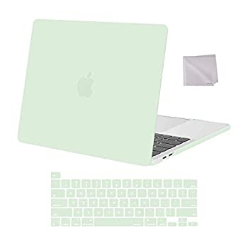 MOSISO Compatible with MacBook Pro 13 inch Case 2016-2020 Release A2338 M1 A2289 A2251 A2159 A1989 A1706 A1708 Plastic Hard Shell Case & Keyboard Cover Skin & Wipe Cloth Honeydew Green