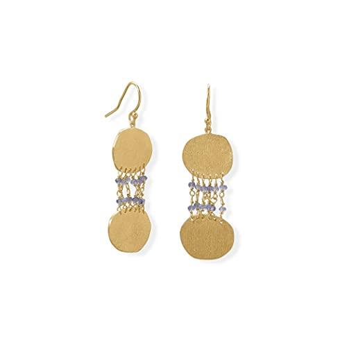 Pendientes de plata de ley 925 de 14 quilates Gld con forma de liolita y disco texturizado con alambre francés para colgar en la longitud de la joyería regalos para las mujeres
