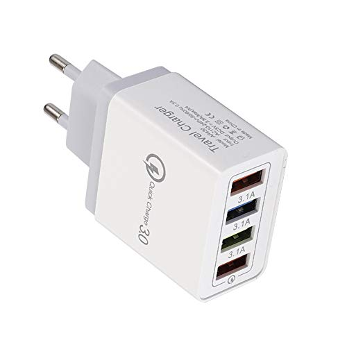 NXACETN Travel Power Adapter Tragbar 4 USB-Anschlüsse QC 3.0 Schnelllade-Ladegerät Grau *EU Plug