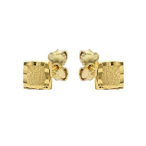 Pendientes bebé diamantados de oro amarillo de 18 quilates cuadrados