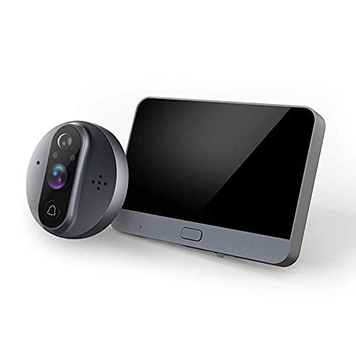 BAOZUPO Cámara con Timbre de Video, Pantalla LCD de 4.3 Pulgadas, videollamada WIF, Timbre de visión Nocturna por Infrarrojos de Audio bidireccional, fácil instalación