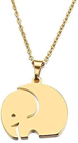 MGBDXG Co.,Ltd Collar Collar de Acero Inoxidable para Mujer Hombre Amante S Gran Elefante Color Dorado y Plateado Collar con Colgante Collar de joyería de Compromiso
