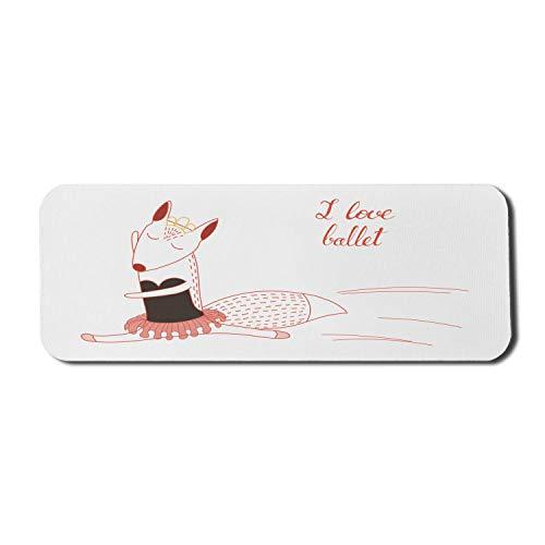 Ich liebe Ballett Computer Mouse Pad, lustige Cartoon Ballerina Fox Tanzen mit Krone und Tutu, Rechteck rutschfeste Gummi Mousepad große dunkle Taupe Vermilion