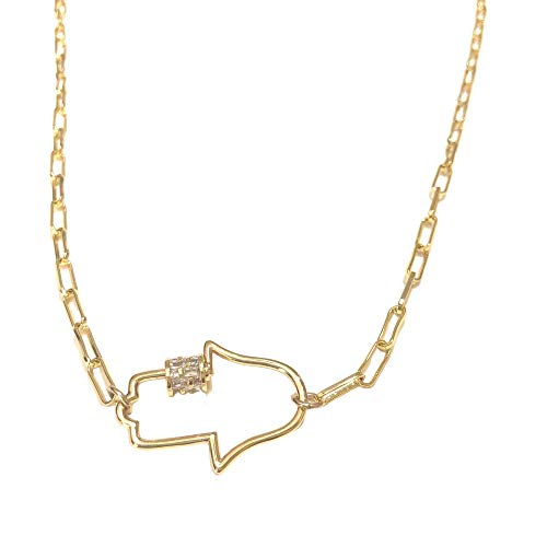 Hamsa Hand Necklace Paperclip Chain Carabiner Screw Lock Pendant with CZ for Women and Girls. Gold Rose-Gold Silver. Invite Good Karma. Layering Jewelry. Charm Amulet for Protection. Dainty(Gold)