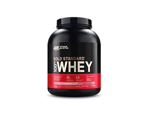 Optimum Nutrition ON Gold Standard 100% Whey Proteína en Polvo Suplementos Deportivos, Glutamina y Aminoacidos, BCAA, Fresa Deliciosa, 76 porciones, 2.27 kg, Embalaje puede variar
