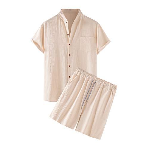 2021 hombres 2 piezas conjuntos de trajes hip hop verano playa algodón lino conjunto manga corta camisas y pantalones cortos conjuntos