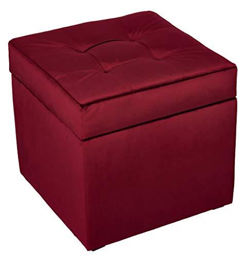 postergaleria Sitzhocker mit Stauraum, gesteppt, aus weichem Veloursstoff, Fußstütze 45x45 cm (Rot)