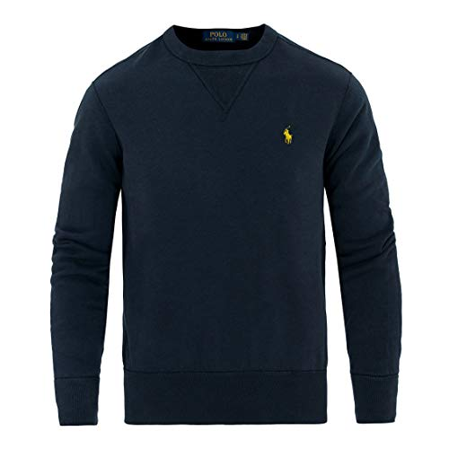 Ralph Lauren, Pullover da uomo a girocollo, stile vintage blu navy L