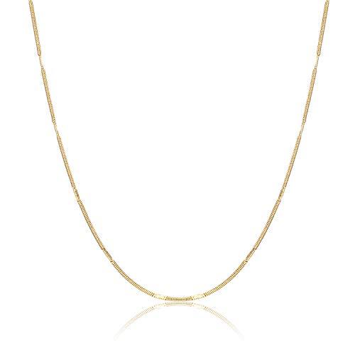 Nocciola 24 Karat echte vergoldete italienische Feste runde Schlangenkette mit Spiegel Lametta Halskette | 1mm Gold Fischgrätenkette für Anhänger | Magische Flexible Schlangenkette