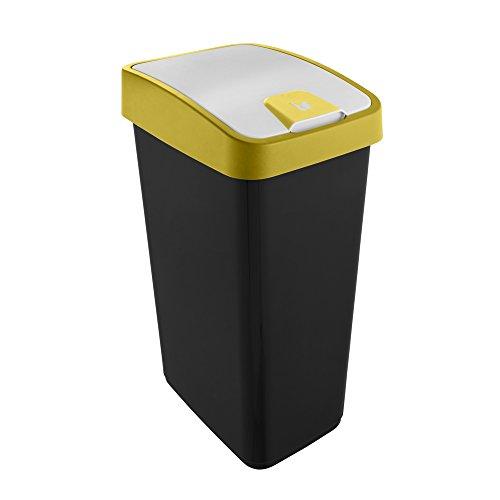 keeeper Premium Abfallbehälter mit Flip-Deckel, Soft Touch, 45 l, Magne, Gelb, Plastik, 45 Liter (Für 60 l Müllbeutel)
