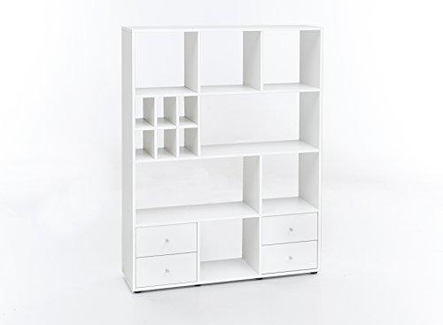 WILMES Regal Raumteiler mit 4 Schubladen und 13 Fächern, Spanplatte, Melamin Dekor Weiß, 104 x 29 x 142 cm