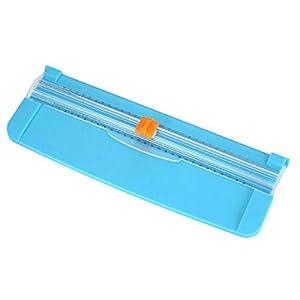 Guillotina de papel, portátil Recortador guillotina de papel Scrapbooking con protección de seguridad para el corte estándar de papel A3 A4 A5, fotos o etiquetas - Azul
