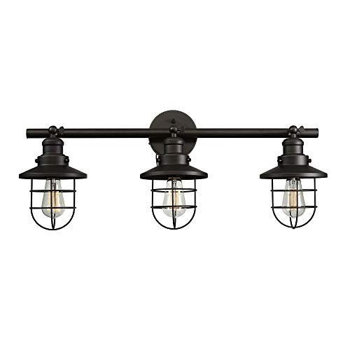 Beaufort 3-Light Wall Sconce, Dark Bronze, Removable Cage Shade,5...