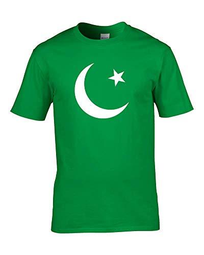 Ice-Tees Pakistán Crescent Moon and Star- Bandera nacional - Camiseta juvenil de niña de Verde verde 9-11 Años