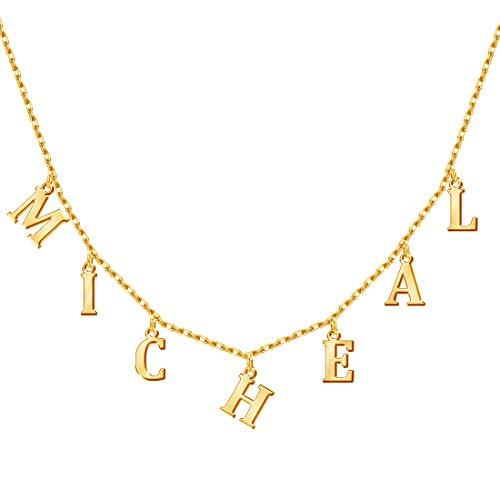 MissChic Kette mit Buchstabe, Buchstabe Anhänger Silber Personalisierte Kette,18K Rosegold/Gold Vergoldet Buchstabenkette, Geschenk für Freuen, Herren, Freundin, Mutter, Schwester