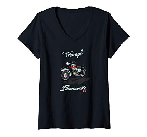 Womens Vintage Triumph Bonneville T120 Motorcycle V-Neck T-Shirt