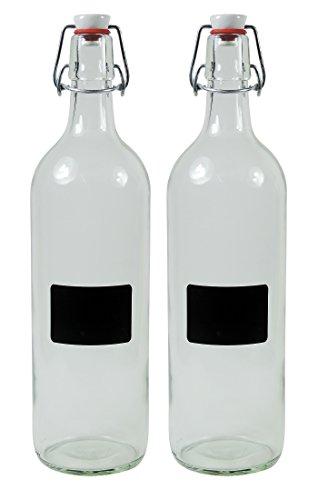 MIKKKEN - 2 botellas vacías de cristal de 1000 ml con cierre de clip de porcelana para rellenar, incluye 2 etiquetas de rotulación
