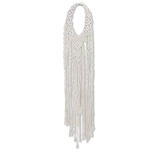 SweetWU Tapiz - Diadema tejida a mano de algodón macramé para boda bohemia