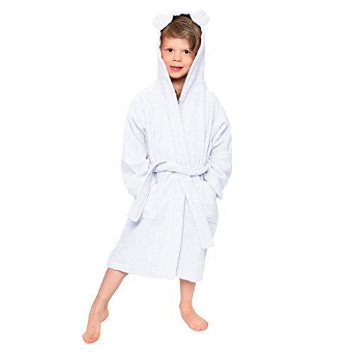 Suave Albornoces con Capucha Niño Albornoz Toalla Unisex Ropa de Dormir Invierno Niña Niño con Bolsillo Pijamas de casa Bata de baño Chica Regalos para Niños