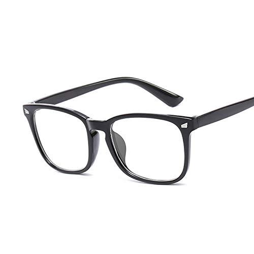 OcchialidaSole Occhiali Trasparenti Rettangolari Vintage Occhiali da Vista Trasparenti da Donna Montatura da Vista Occhiali da Vista da Donna Montatura Femminile Unisex-Bright_Black