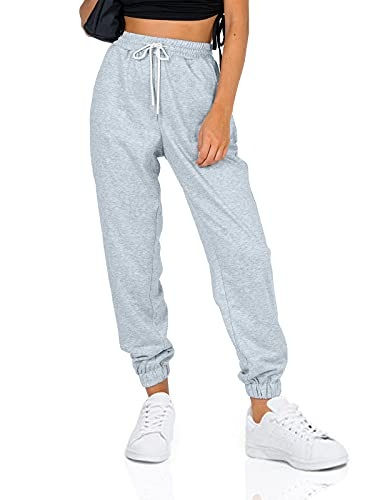 AUTOMET Women's Cinch Bottom Sweatpants High Waisted Athletic Jogger Pants with Pockets Grey