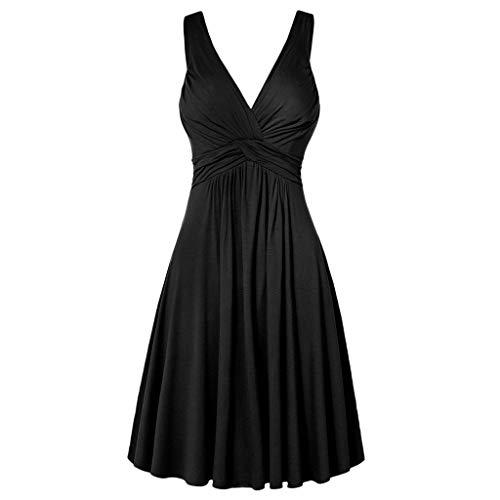 Vestido feminino plus size com decote em V, retrô, plissado, saia rodada, vestido de sol para mulheres, festa casual, Preto, XXG