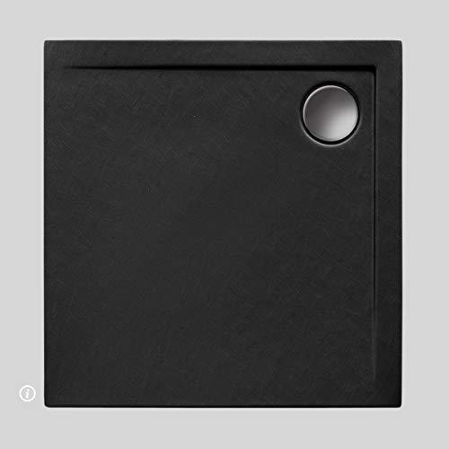 Duschwanne AQUABAD® Comfort Neo BlackStone quadratisch 80 x 80 cm, Steinoptik schwarz, Extraflache Acryl-Duschtasse, Aufbau-Höhe: 4,5 cm