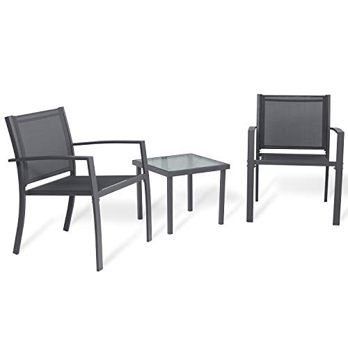 Sigtua Garden Furniture Set 2 Seater, Garden Table and Chairs Furniture Sets [2 ArmChairs + 1 Glass Coffee Table] Indoor Outdoor Furniture Dining Set Ideal for Patio, Lounge, Balcony