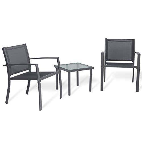 Sigtua Conjunto de Muebles de Jardín de 3 Piezas Muebles de Exterior, Interior, 2 Sillones + Mesa de Vidrio para Terraza, Piscina, Porche, Jardín, Balcón, Gris Oscuro