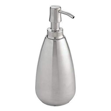 InterDesign Nogu Stainless Steel Liquid Soap & Lotion Dispenser Pump for Kitchen or Bathroom Countertops, Brushed