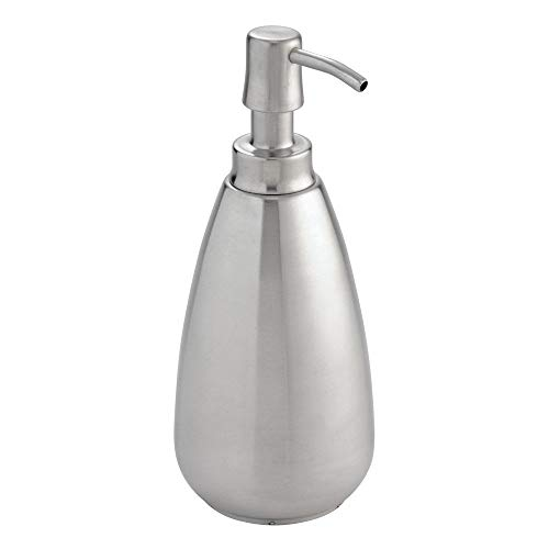 InterDesign Nogu Stainless Steel Liquid Soap & Lotion Dispenser Pump for Kitchen or Bathroom Countertops, Brushed