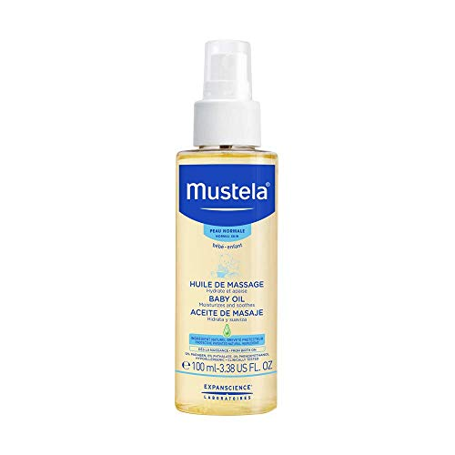Mustela Baby Oil - Moisturizing Oil for Massage - with Natural Avocado, Pomegranate & Sunflower Oil - 3.38 fl. Oz