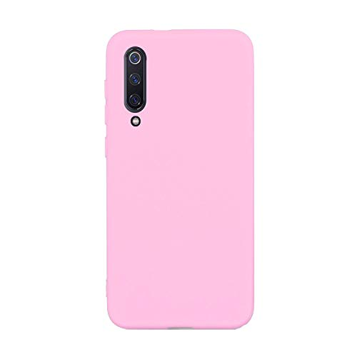 CUZZCASE Kompatibel mit Xiaomi Mi 9 SE Hülle Hülle+{1 x Panzerglas Schutzfolie} Silikon Schutzhülle Handyhülle,Outdoor Stoßfest Schutzhülle Schmaler Handyschutz-Stoßfest-Pink
