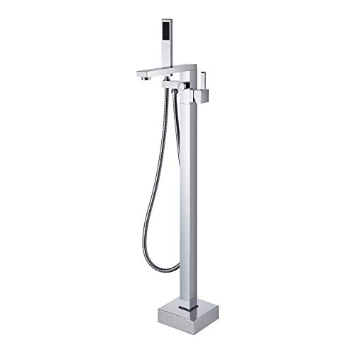 Wowkk Freestanding Bathtub Faucet Tub Filler Chrome Floor Mount Bathroom Faucets Brass Single Handle with Hand Shower